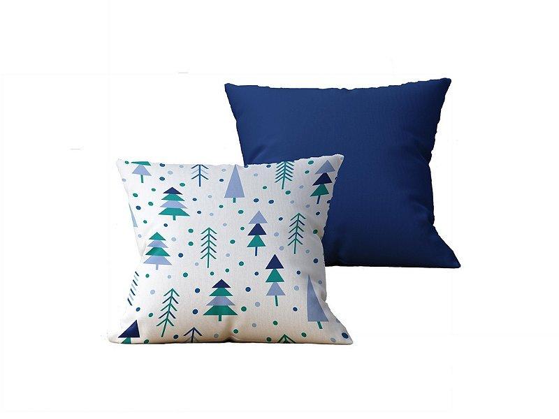 Kit com 2 Capas de Almofadas Decorativas Estampa Arvores, Branca e Azul - 45x45cm