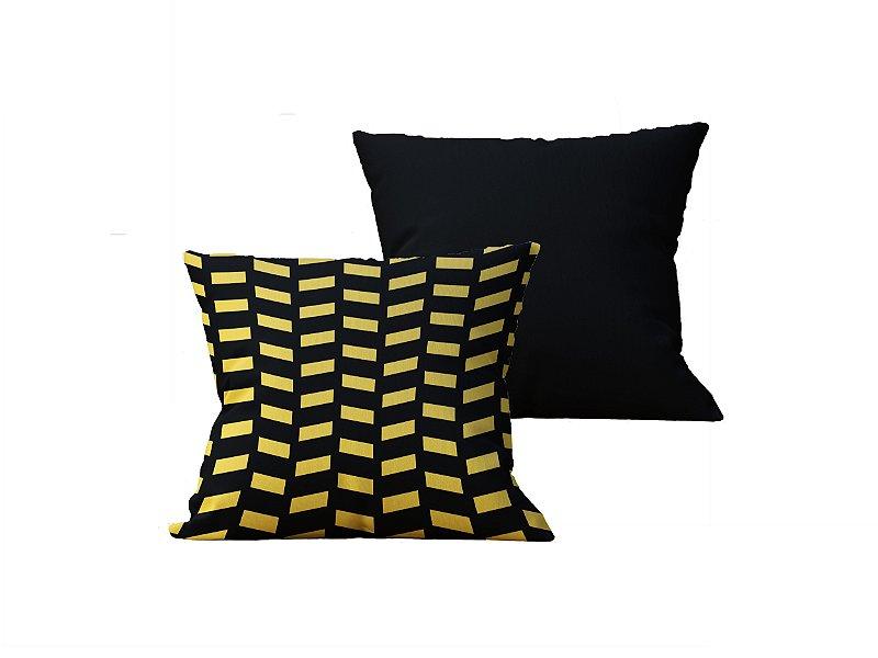 Kit com 2 Capas de Almofadas Decorativas Geometrica Amarela e Preta - 45x45cm