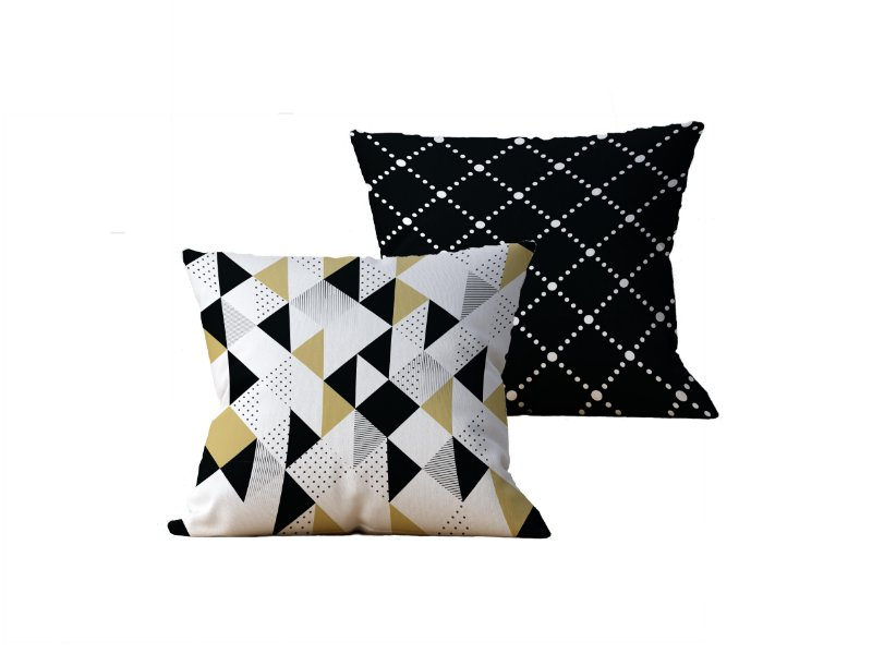 Kit com 2 Capas de Almofadas Decorativas Geometricas, Branco e Amarelo - 45x45cm