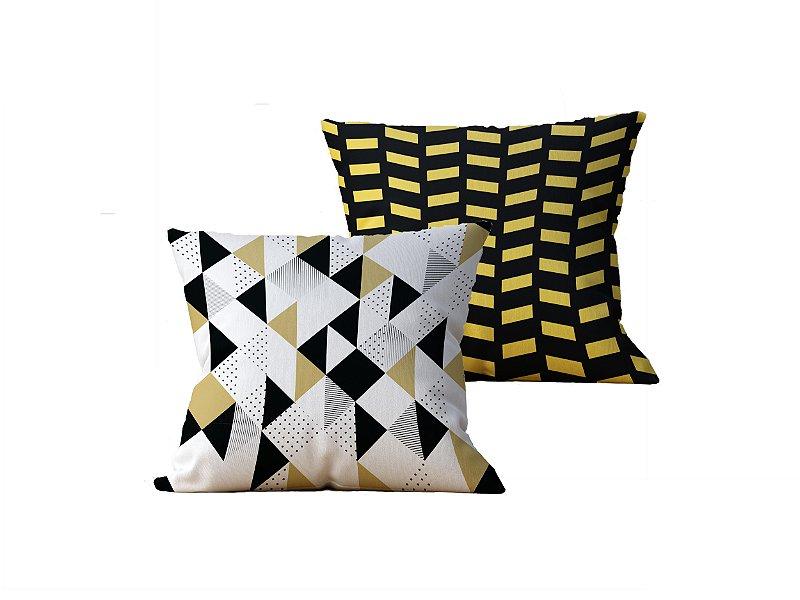 Kit com 2 Capas de Almofadas Decorativas Geometrica Branca, Dourada e Preta - 45x45cm