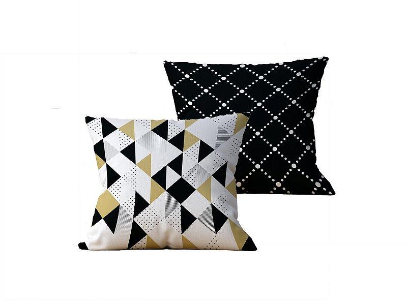 Kit com 2 Almofadas Decorativas Geometricas, Branco e Amarelo - 45x45cm