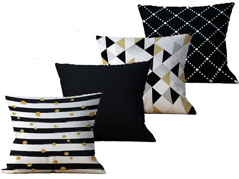 Kit  com 4 Almofada decorativa Geometricas Branco Preta e Dourado - 45x45cm