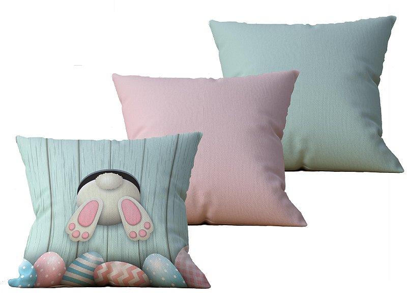 Kit com 3 Capas de Almofada decorativas Pascoa in Green & Pink - 45x45 - by AtHome Loja