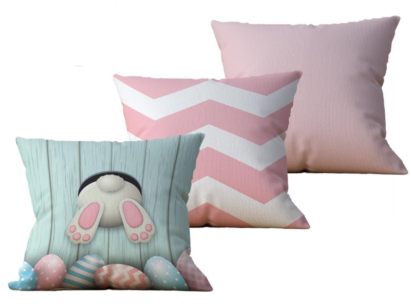 Kit com 3 Capas de Almofada decorativas Pascoa in Pink - 45x45 - by AtHome Loja