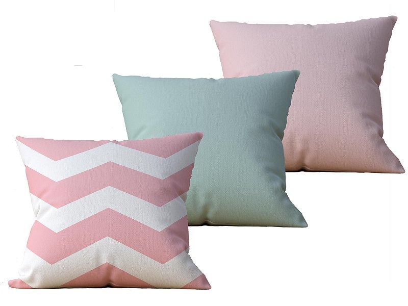 Kit com 3 Capas de Almofada decorativas Pascoa in Pink & Green - 45x45 - by AtHome Loja