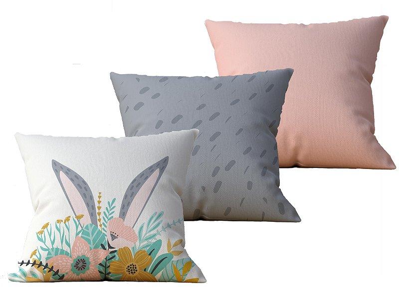 Kit com 3 Capas de Almofada decorativas Pascoa Bunny & Flores - 45x45 - by AtHome Loja
