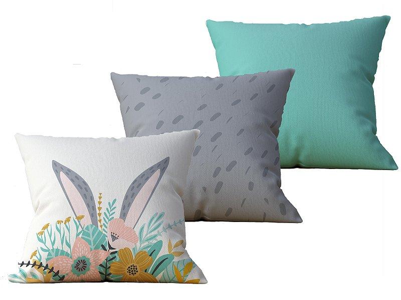 Kit com 3 Capas de Almofada decorativas Pascoa Bunny Florest - 45x45 - by AtHome Loja