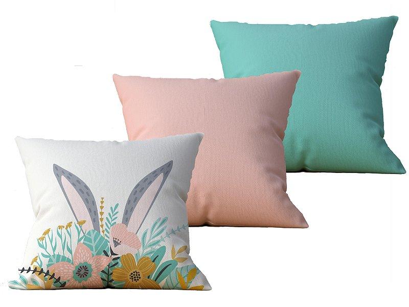 Kit com 3 Capas de Almofada decorativas Pascoa Bunny Color - 45x45 - by AtHome Loja