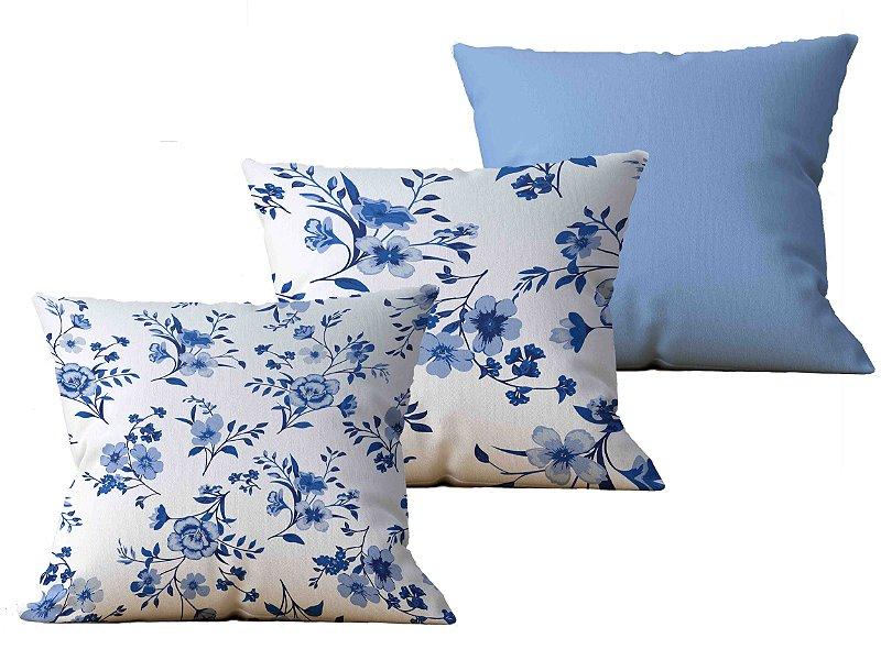 Kit com 3 Almofadas decorativas Flor Delicatesse - 45x45 - by AtHome Loja