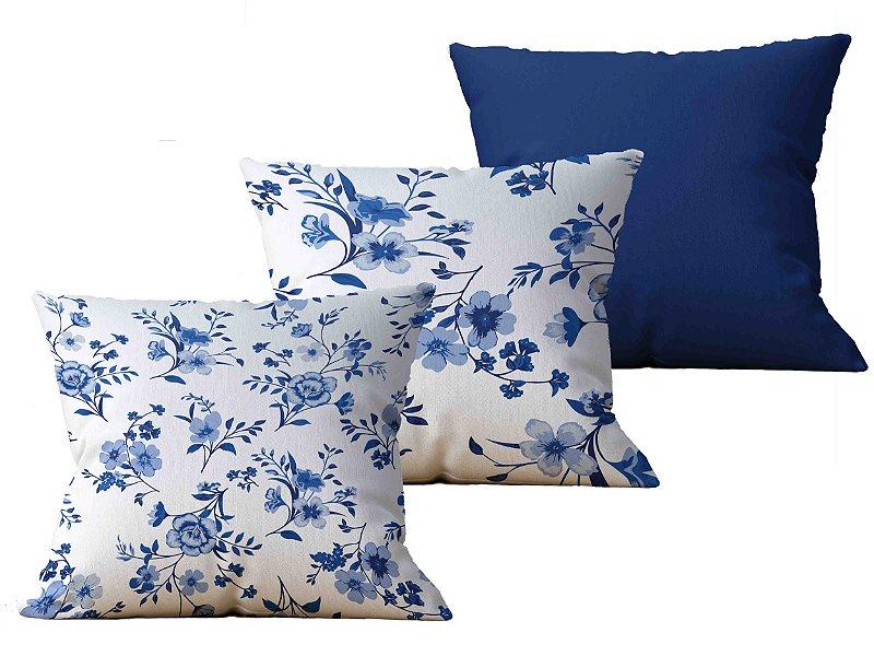 Kit com 3 Almofadas decorativas Flor Delicatesse & Pinhe - 45x45 - by AtHome Loja
