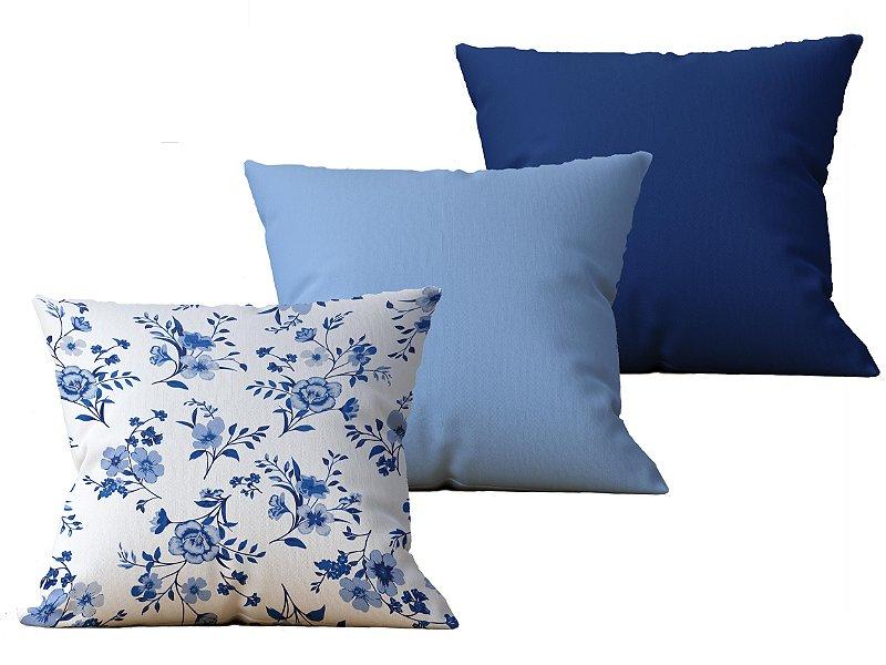 Kit com 3 Capas de Almofada decorativas Flor Delicatesse in Bleue - 45x45 - by AtHome Loja