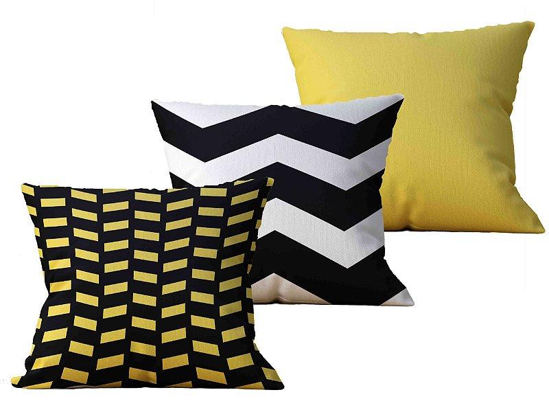 Kit com 3 Almofadas decorativas Dhahabi Yel - 45x45 - by AtHome Loja