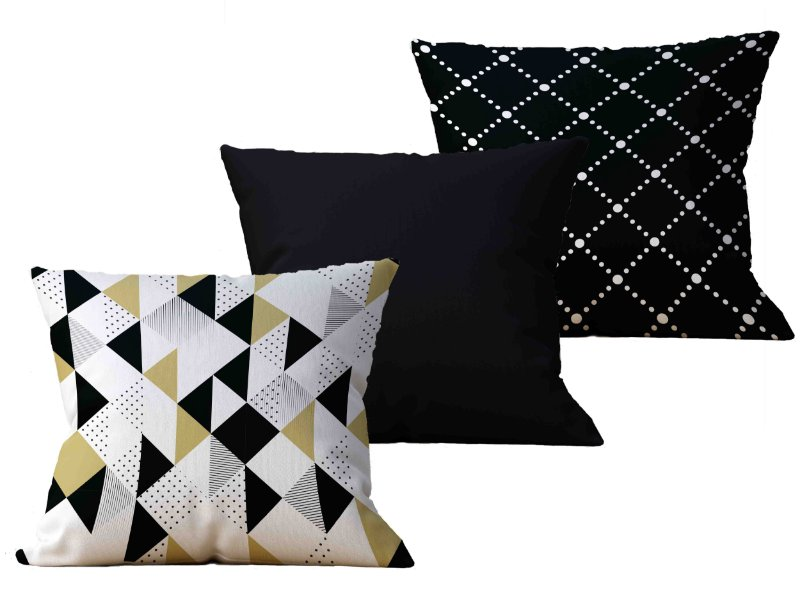 Kit com 3 Almofadas decorativas Black & Gold - 45x45 - by AtHome Loja