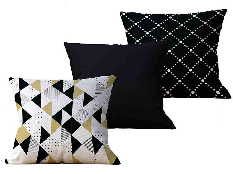 Kit com 3 Capas de Almofada decorativas Black & Gold - 45x45 - by AtHome Loja
