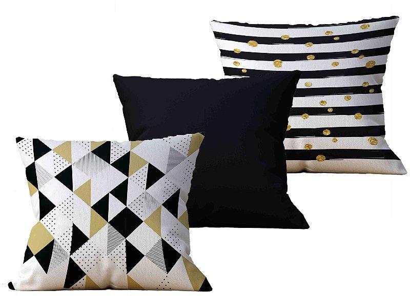 Kit com 3 Capas de Almofada decorativas Black & Gold Mix - 45x45 - by AtHome Loja