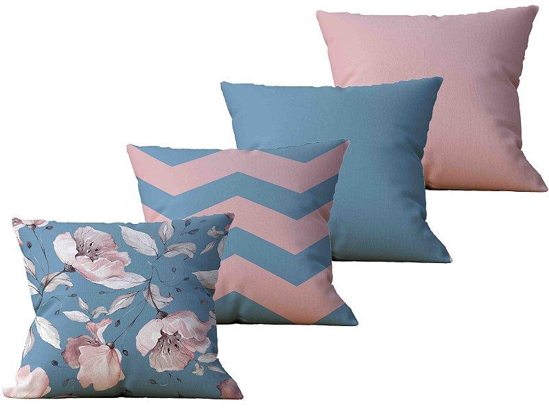 Kit com 4 Capas de Almofada decorativas Flor Essence - 45x45 - by AtHome Loja
