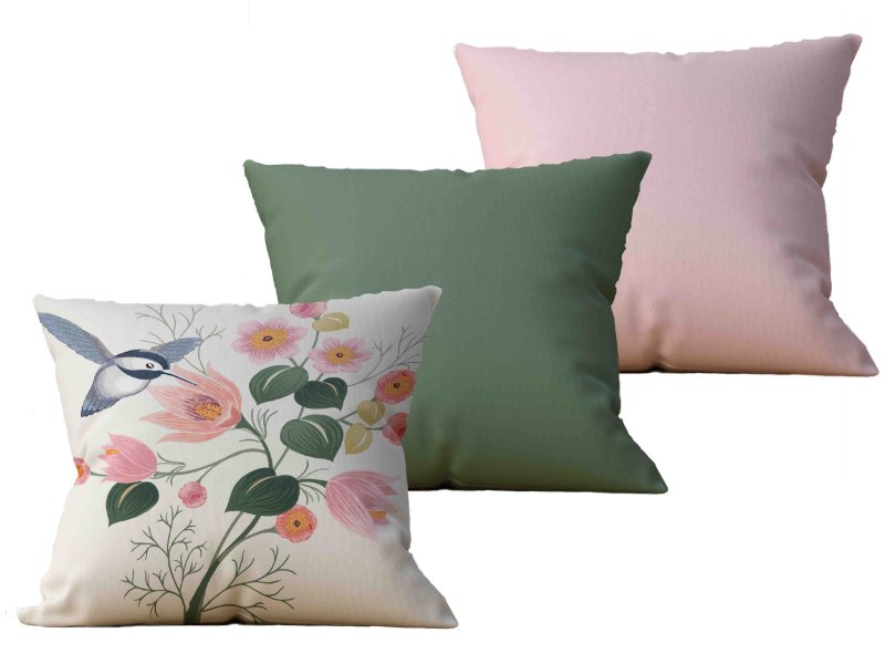 Kit com 3 Almofadas decorativas Flor & Beija-Flor - 45x45 - by AtHome Loja