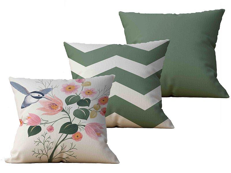 Kit com 3 Almofadas decorativas Beija-Flor & Chevron - 45x45 - by AtHome Loja