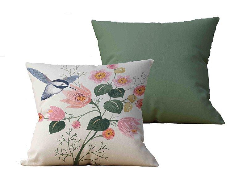 Kit com 2 Almofadas decorativas Flor & Beija-Flor - 45x45 - by AtHome Loja