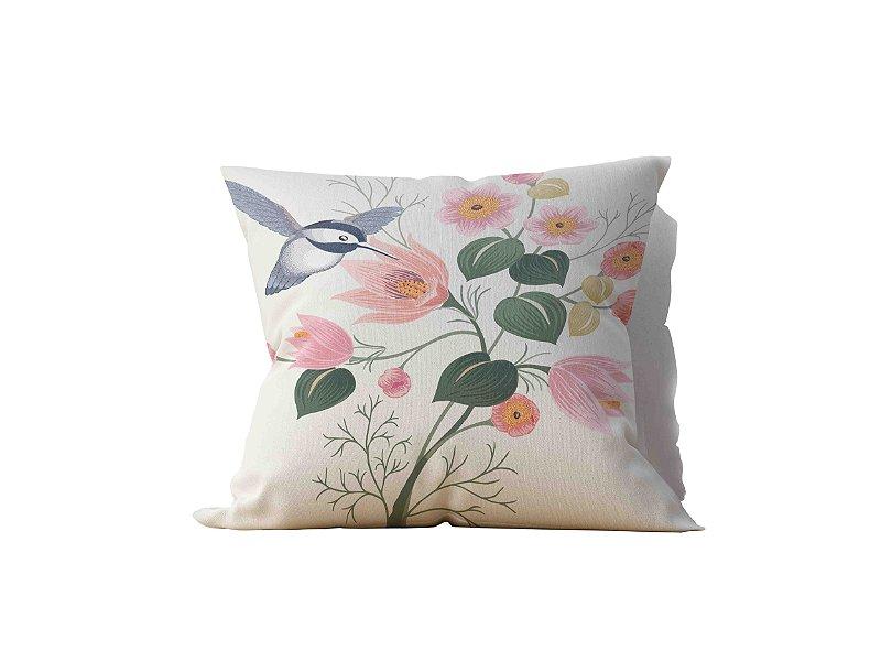 Almofada decorativa Flor & Beija-Flor - 45x45 - by #1 AtHome Loja