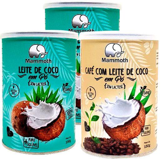 2 Unidades de Leite de Coco em pó e 1 Café com leite de coco em pó