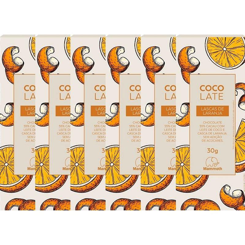 CocoLate 55% Cacau Lascas de Laranja - 6 unidades