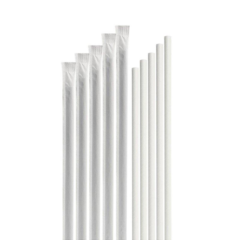 100 Canudos de Papel Branco Individualmente Embalados BioTube Biodegradável