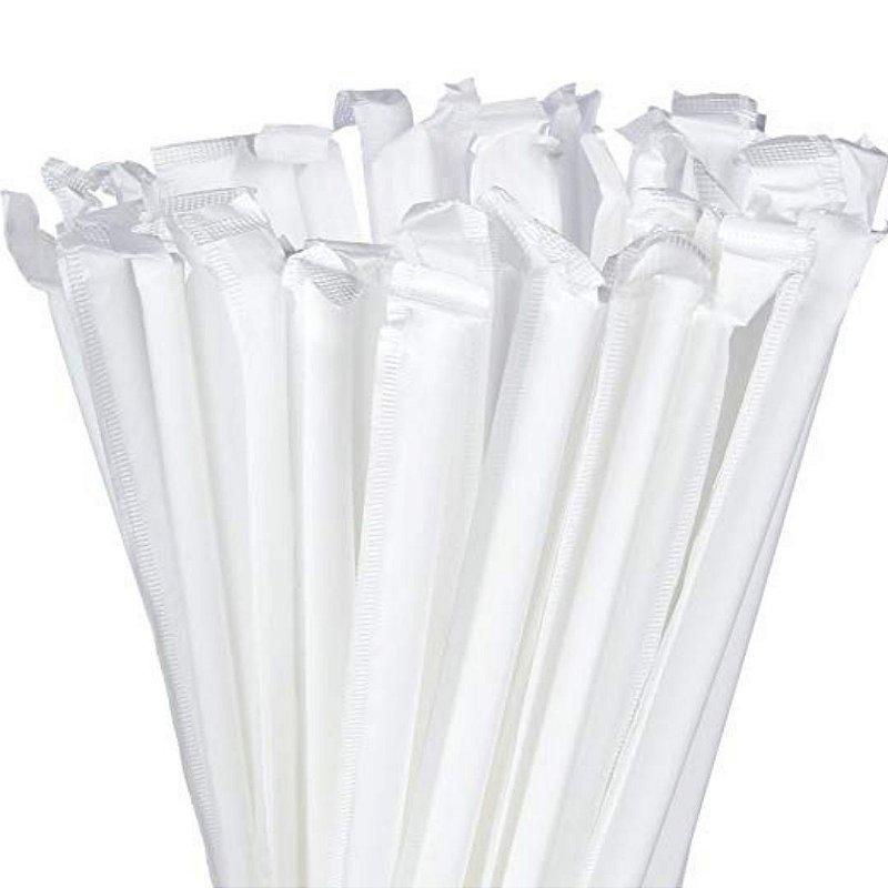 300 Canudos de Papel Branco Individualmente Embalados BioTube Biodegradável