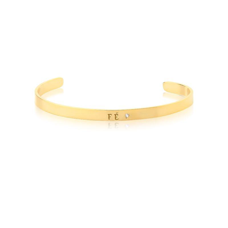 Bracelete Frase Fé Banhado A Ouro 18k