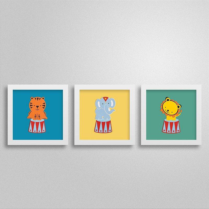 Trio de quadros Bichinhos de Circo para decoração