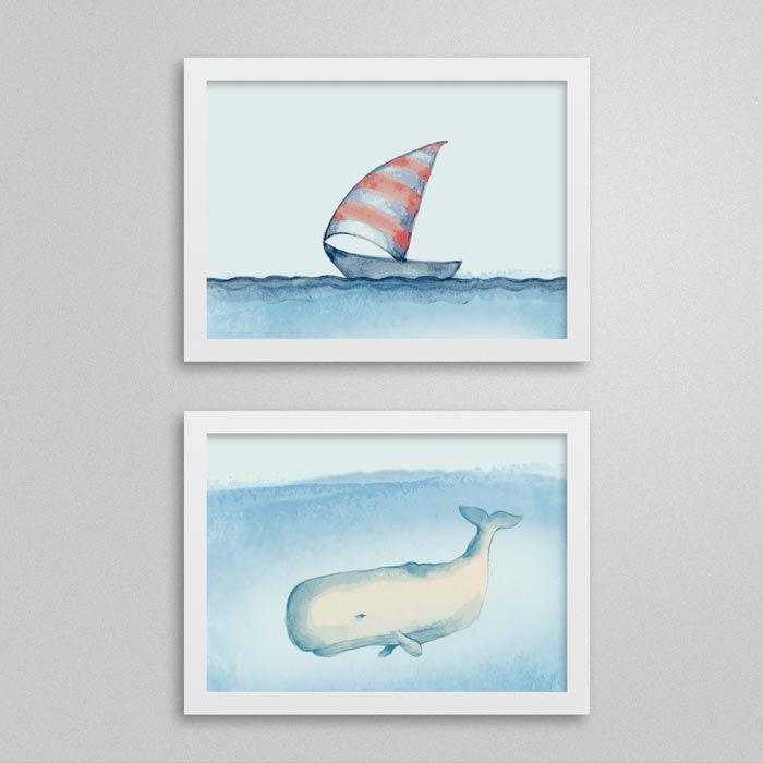 conjunto de Quadro Navy - navio e baleia