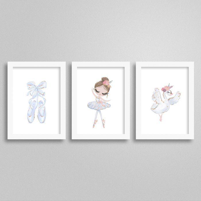 Quadro Ballet Cisne Branco para decoração quarto infantil