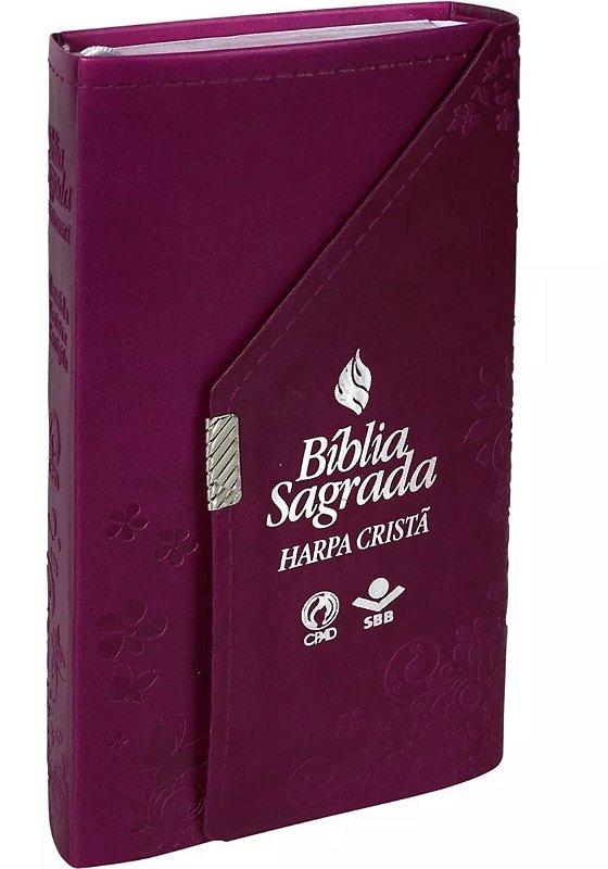 Bíblia Carteira Com Harpa Cristã Vinho