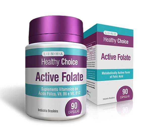 Active Folate Ácido Fólico, Vitamina B6 E Vitamina B1 90 Caps - Health Choice