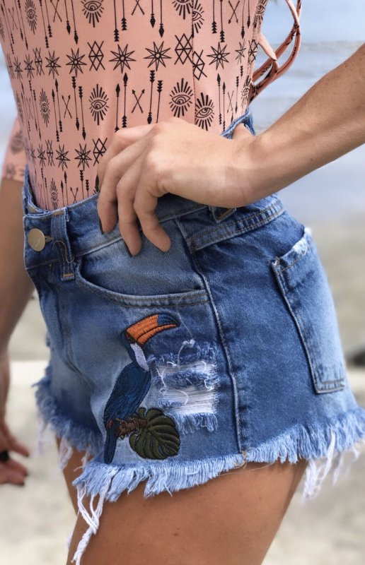 Shorts Bordado - Jeans