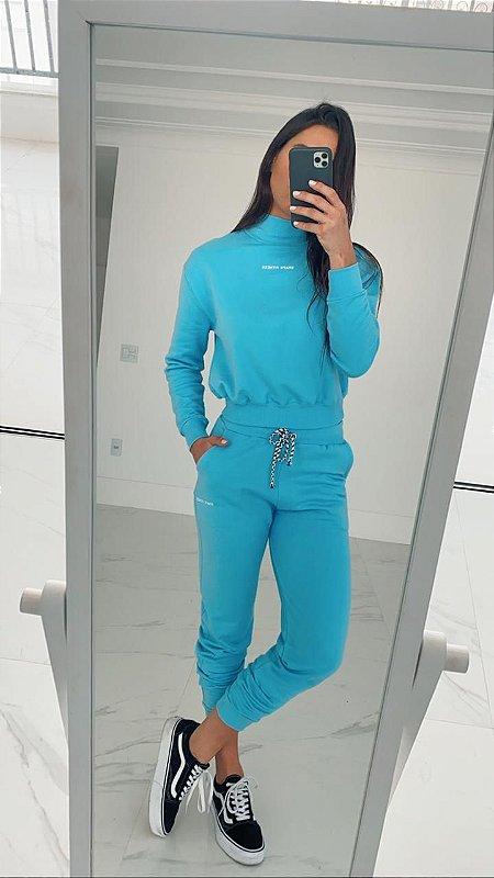 Calça de Moletom - Azul bebê