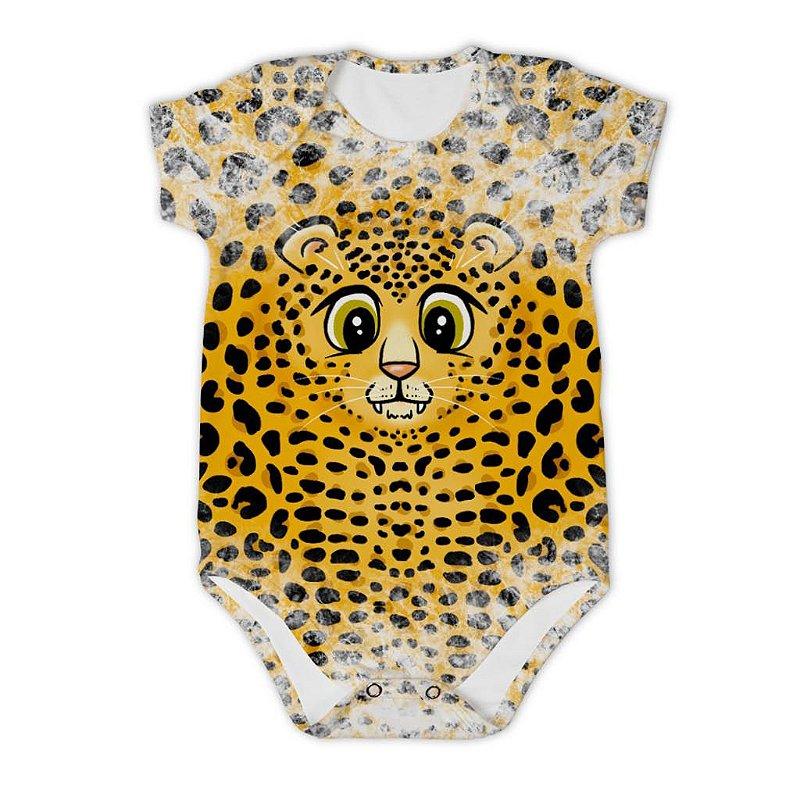 Body Bebê Manga Curta Tigre