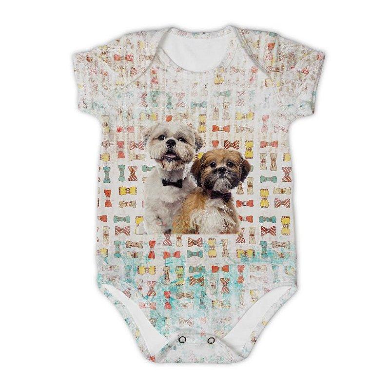 Body Bebê Manga Curta Dog Laço
