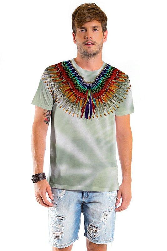 Camiseta Básica Adulto Penas Pavão