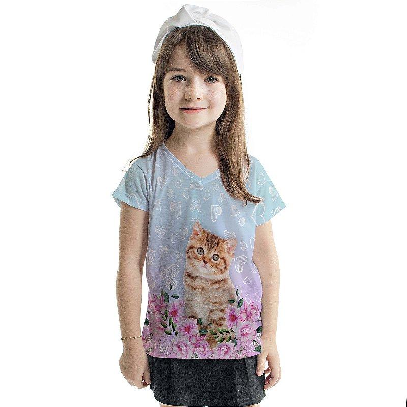 Blusa Florata Infantil Cat Flower