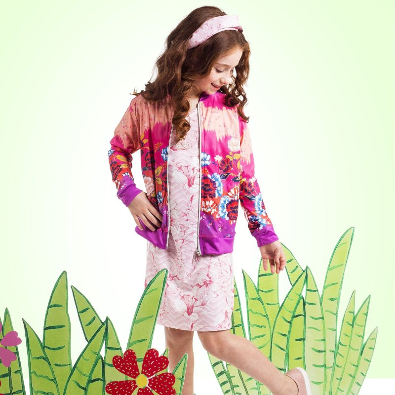 Jaqueta Bomber Infantil Flores