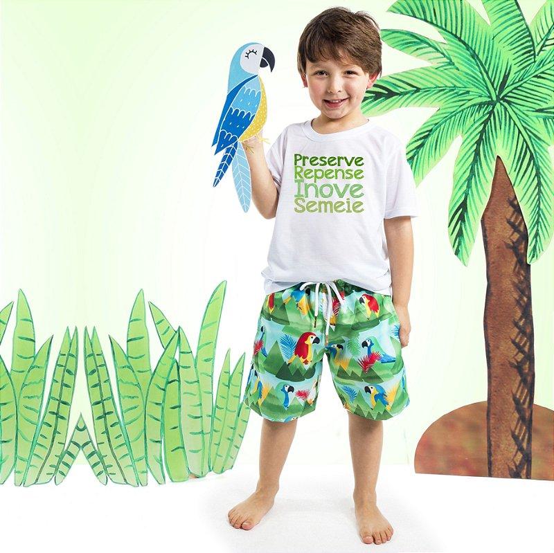 Camiseta Básica Infantil Frase Arara