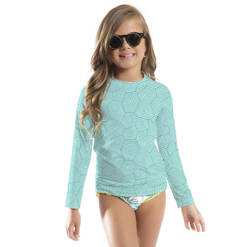 Blusa UV Infantil Unissex Geométrico Azul