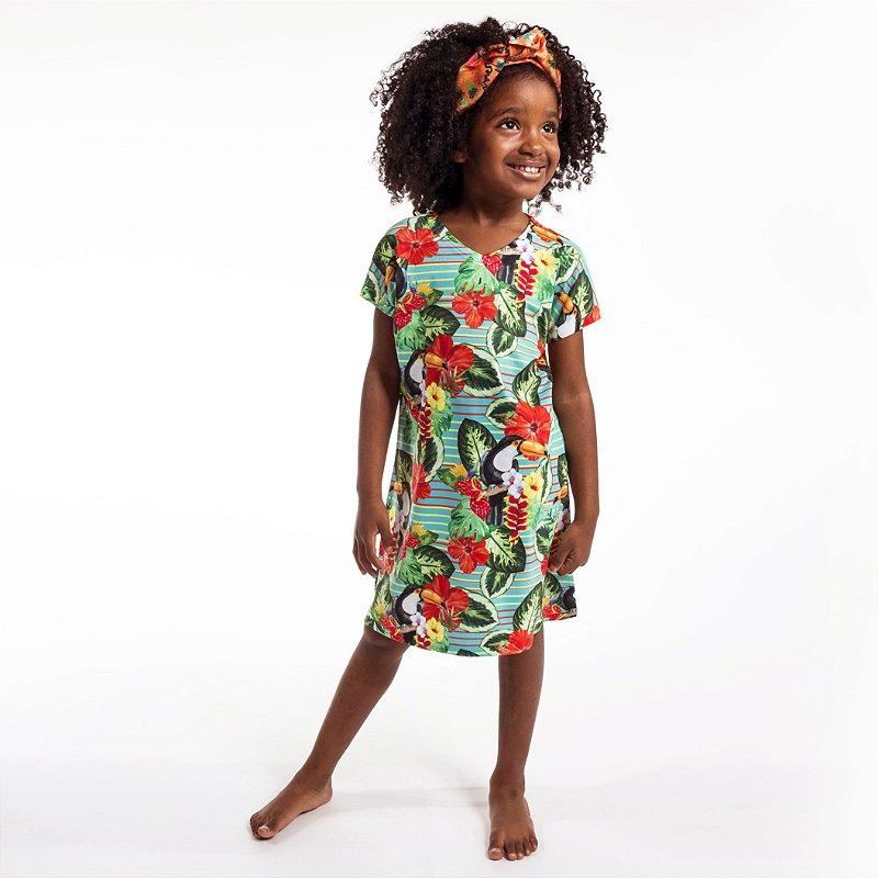 Vestido Curto Vanilla Infantil Tucano Tropical