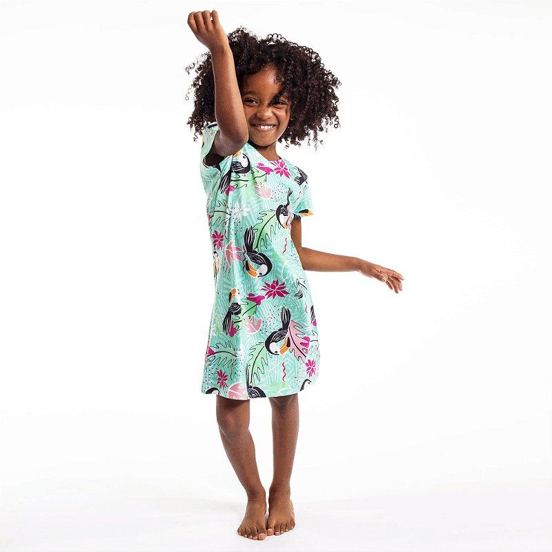 Vestido Curto Vanilla Infantil Tucano Folhas