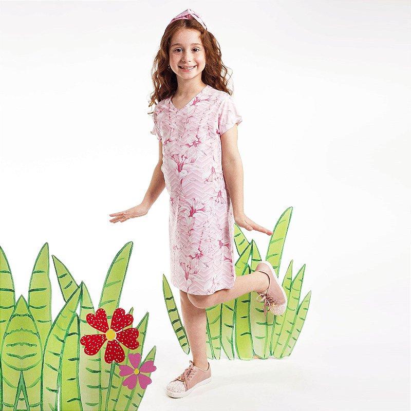Vestido Curto Vanilla Infantil Rosa Floral