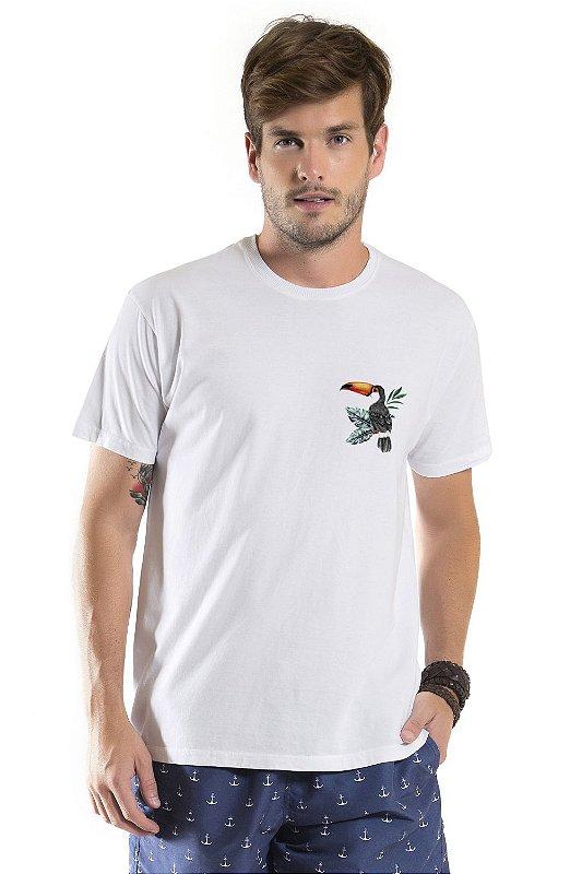 Camiseta de Algodão Estonada Branca Tucano