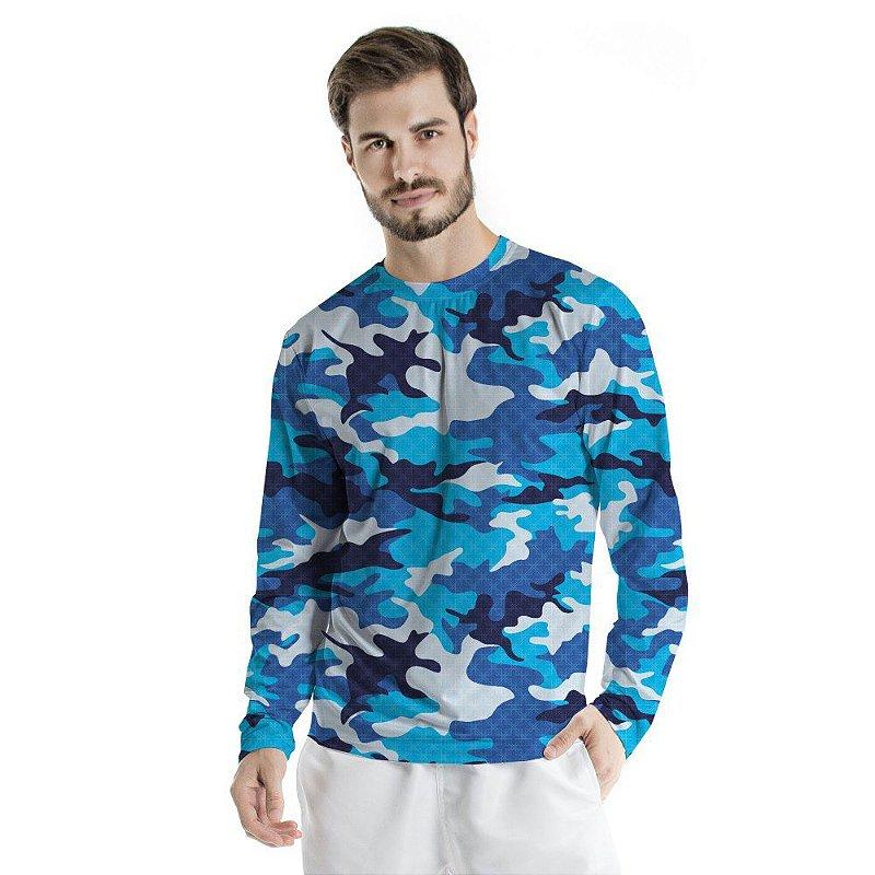 Blusa UV Adulto Militar Azul
