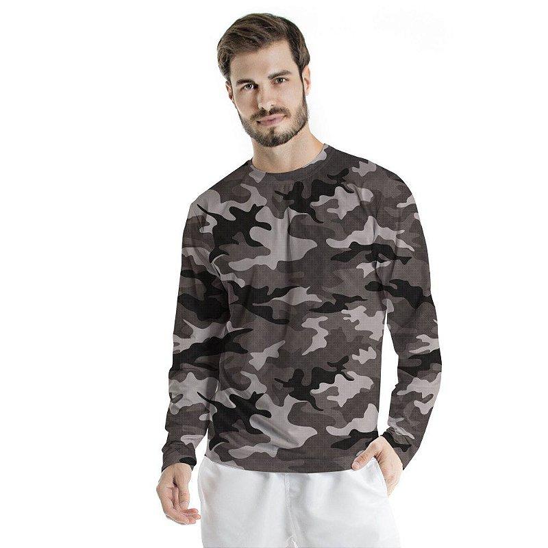 Blusa UV Adulto Militar Preto