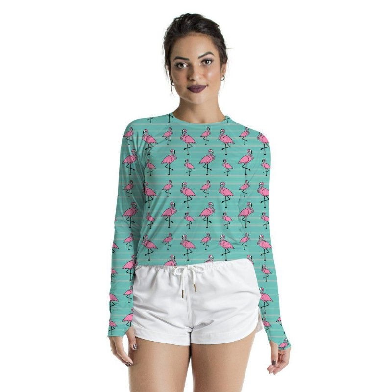 Blusa UV Feminino Adulto Flamingos